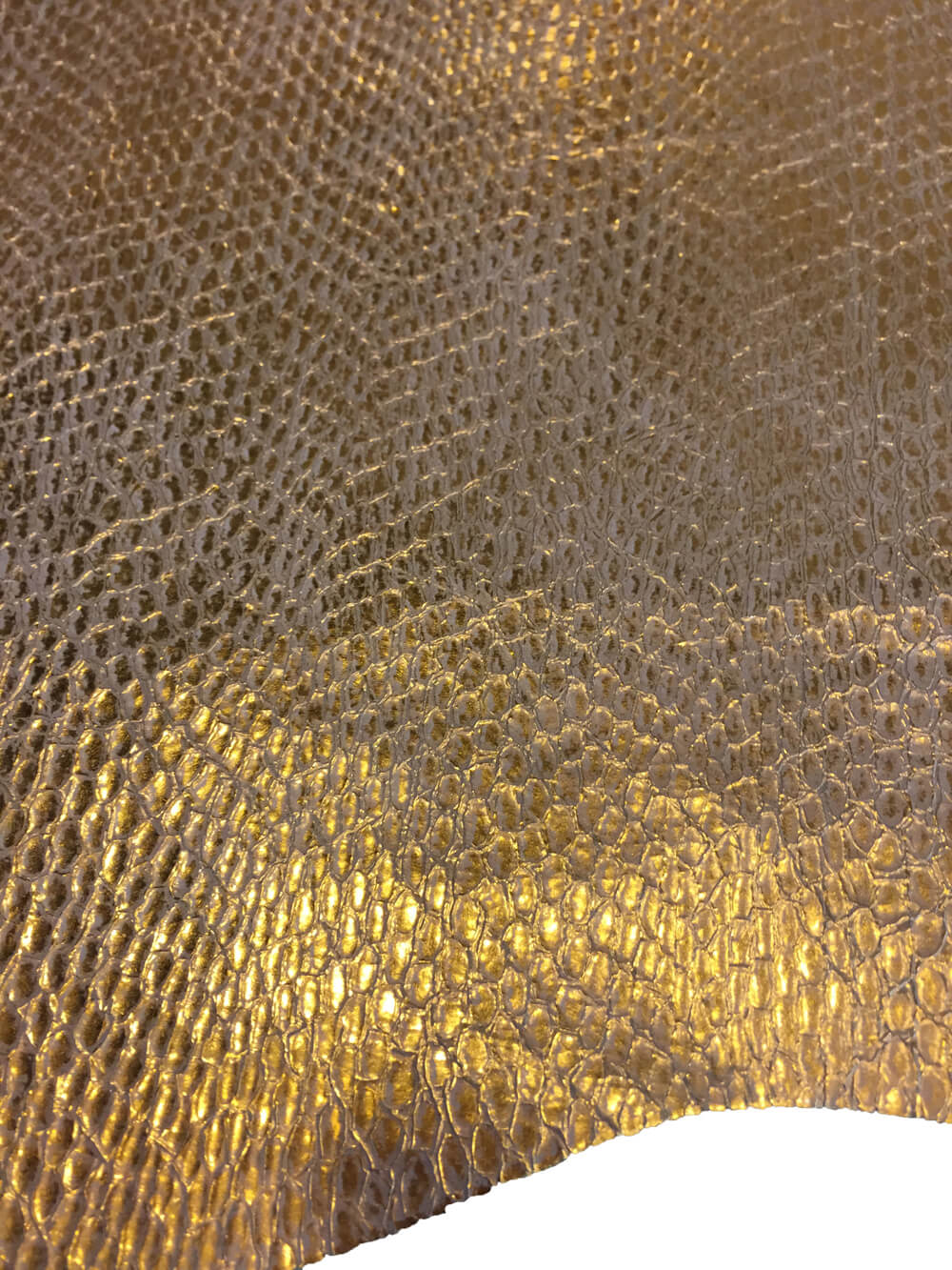 Lizard embossed metallic gold genuine lambskin full leather hides