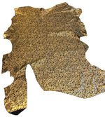 Black Genuine Pig-split Suede Leather Hides with Gold Floral Printing Upholstery Material