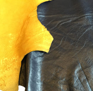 SALE Reversible blue nappa and yellow suede genuine lambskin full leather hides craft fabric