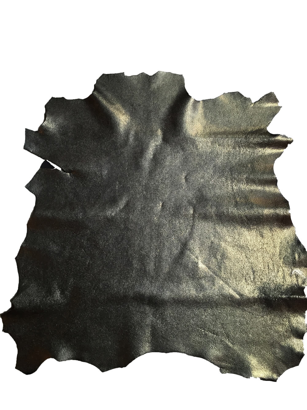 Green Black leather in genuine lambskin full hides with a cracked finish