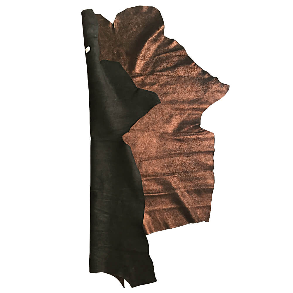 Brown Copper Metallic Finished Genuine Calfskin Leather Hides great for Home Decór and Craft Material