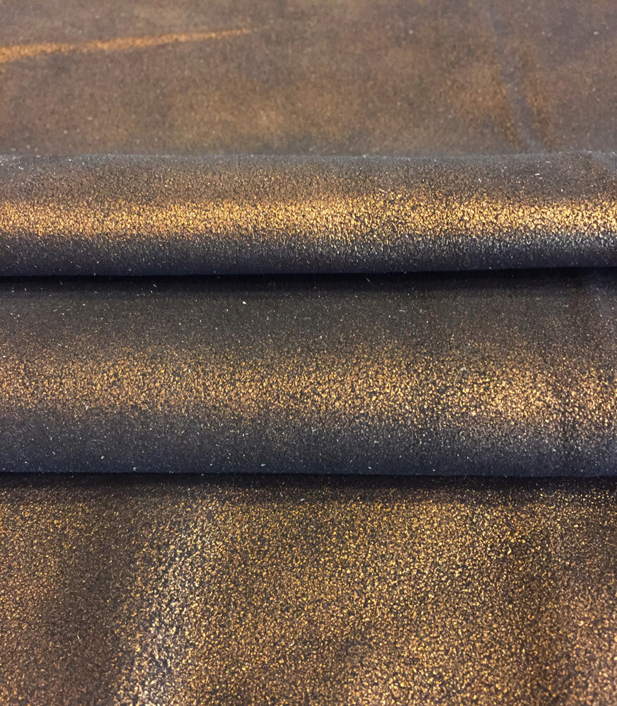 Brown Leather Hides for Crafting and Upholstery Material with a Copper Metallic Finish