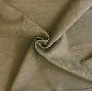 Genuine military green suede leather fabric in full leather skins with pebbled finish