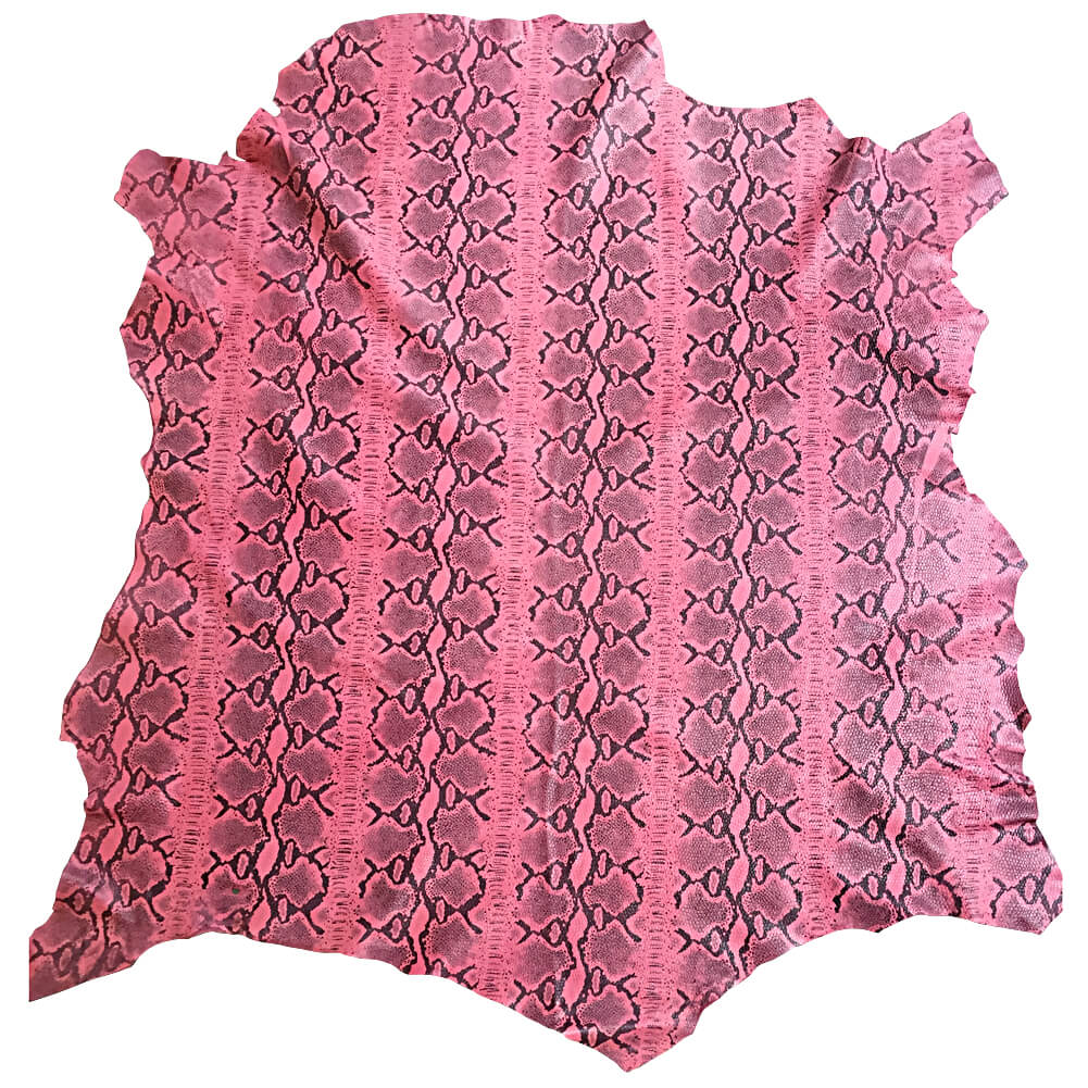SALE Pink genuine lambskin leather in full hides with snakeskin printing Upholstery Material