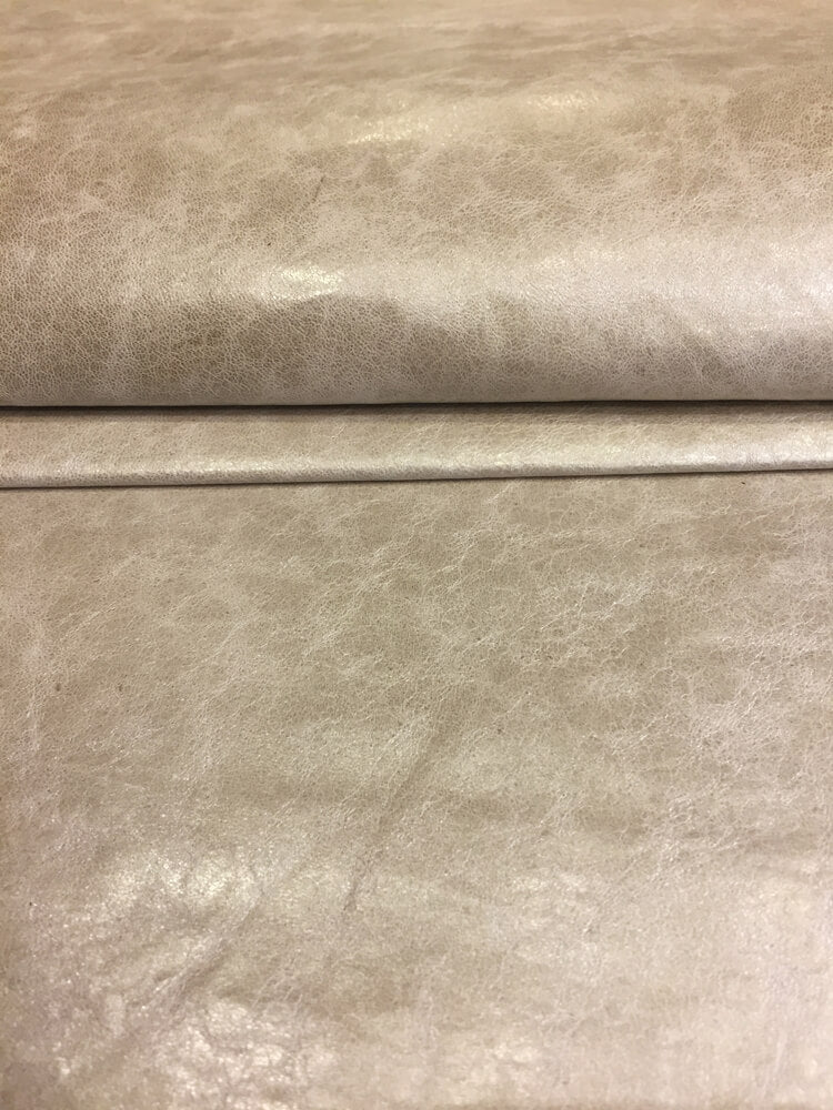 Beige Genuine Leather Hide Pearlescent Finish for Crafting and Bookbinding Projects