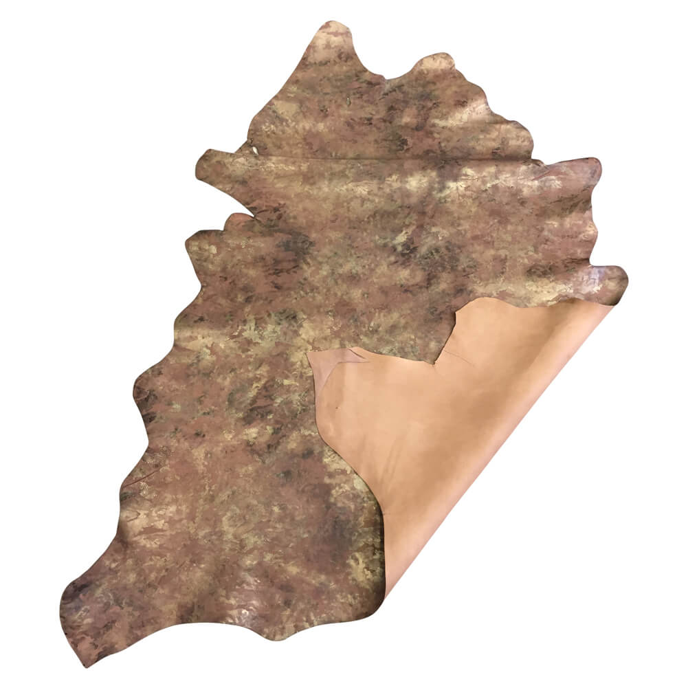 Sale Brown Camouflage Printed Genuine Lambskin Leather Hide Perfect Crafting Material and DIY Supply