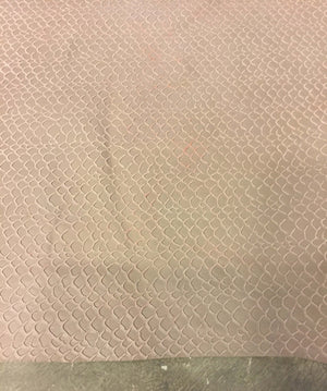 Genuine Lambskin Tanned Leather Taupe Fish Scales Pattern Hide Craft DIY Sheepskin