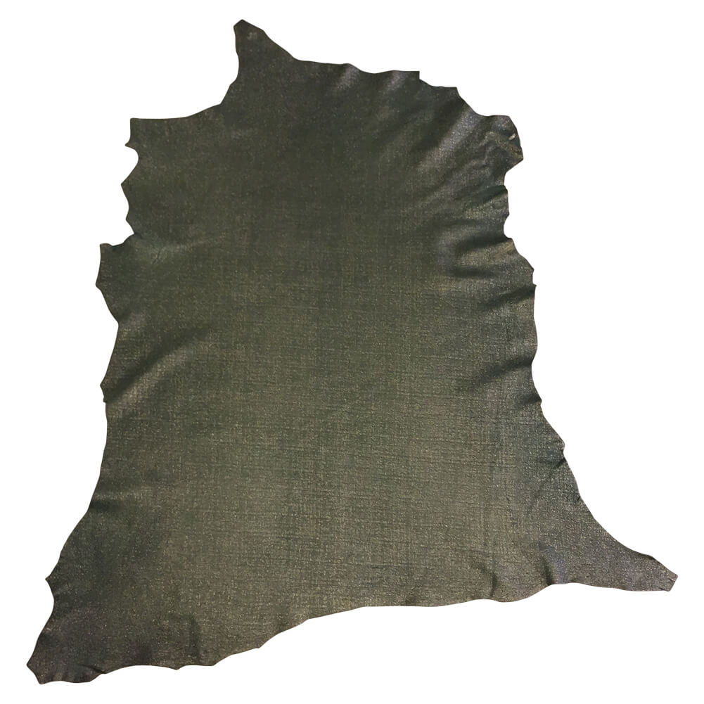 Green Leather Hides with a Textured Finish Perfect for Crafting and Home Decór Projects