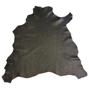 Lambskin Leather Black Glitter Finish Sheepskin Hide DIY Craft Material