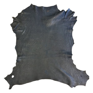 Dark Blue Natural Lambskin Leather with a Metallic Finish a Soft Hide great for DIY Craft Material