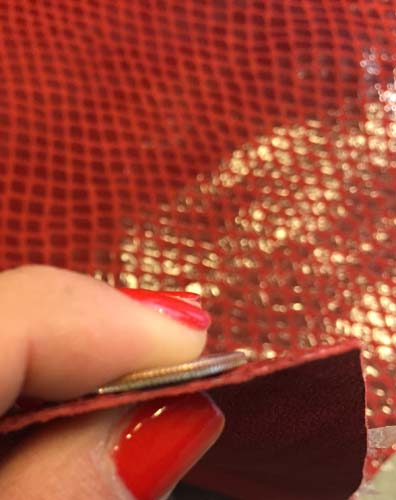 SALE Genuine Tanned Leather Red Snakeskin Pattern Hide Craft DIY Pig Split