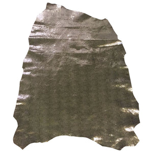Silver Metallic Snakeskin Leather Genuine Embossed Lambskin Hides Perfect Craft and DIY Fabric