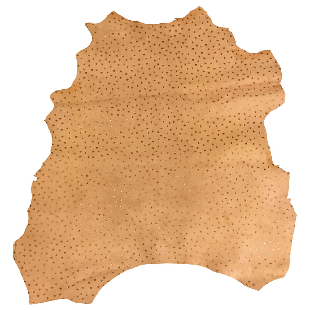 Tan Leather Hides with Star Print Genuine Lambskins for Craft DIY and Home Decor Projects