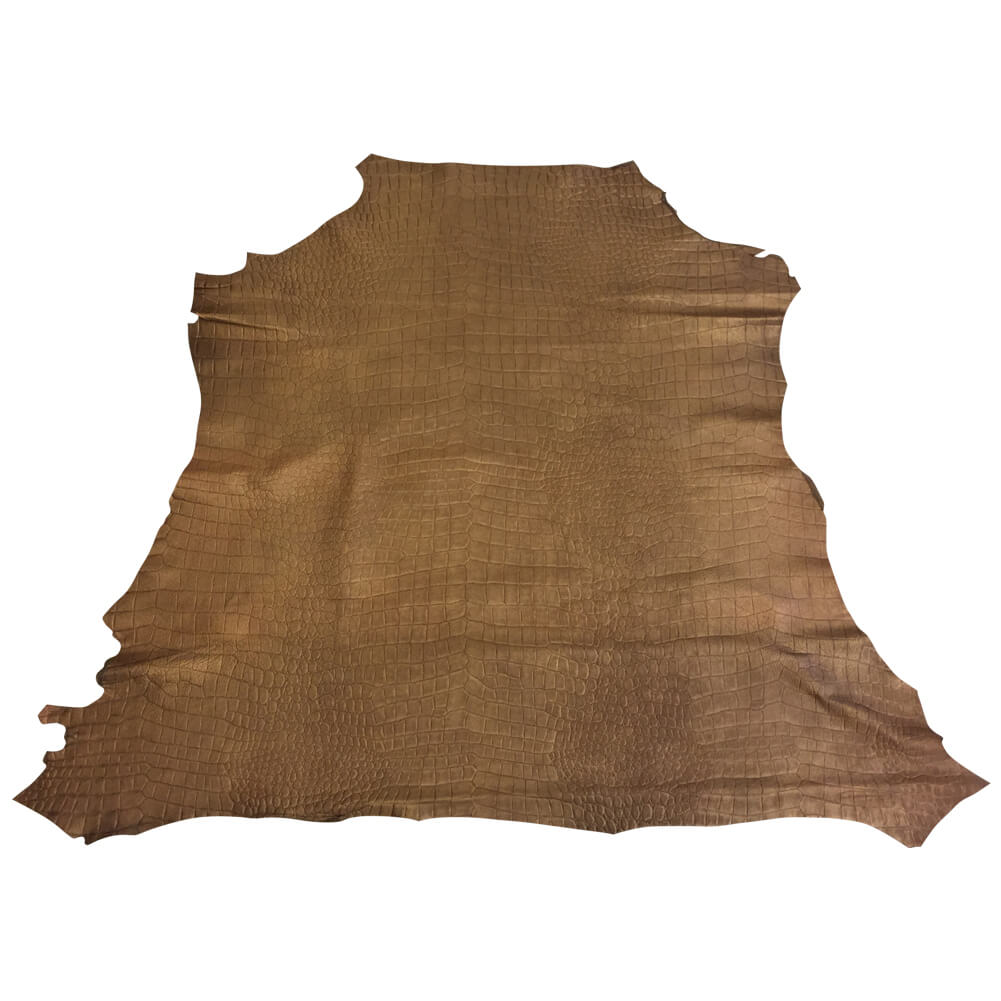 Brown Crocodile Embossed Genuine Leather Hides for Crafting