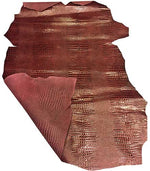 Genuine Burgundy Snakeskin Embossed Calfskin Hide Perfect for DIY and Craft Projects