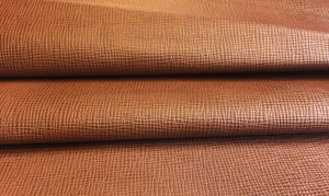 Brown Cognac Real Leather Skins Genuine Goatskin Material with Textured Finish Great for Craft Projects