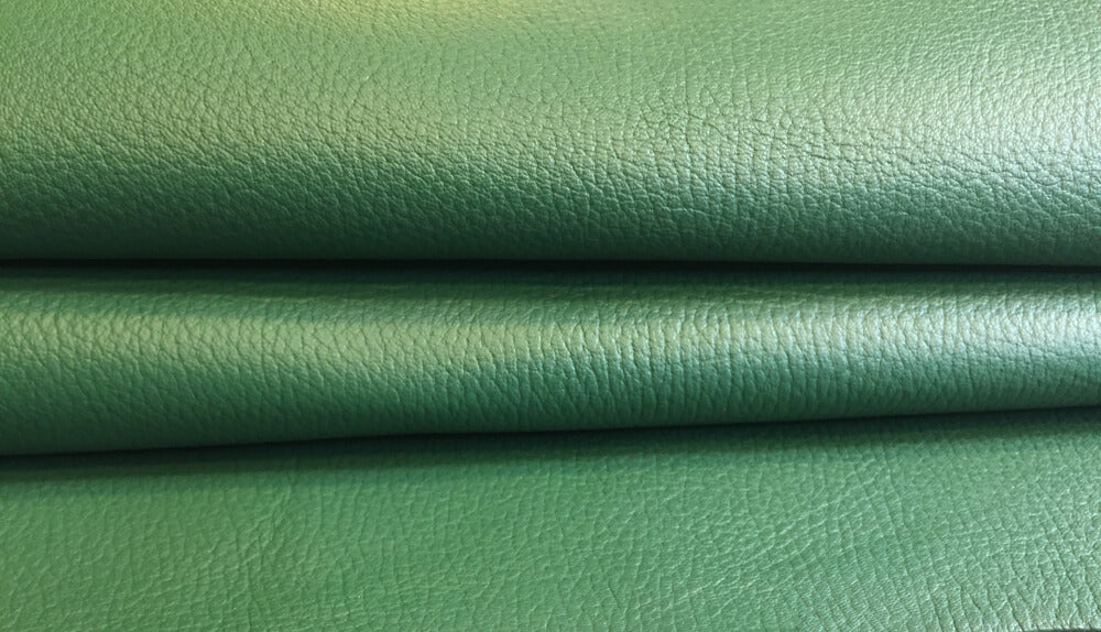 Green textured finished genuine lambskin material in full leather hides