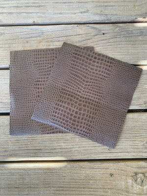 Crocodile Embossed Leather Sheet or Squares Perfect for Craft Material, Art Projects and DIY Fabric