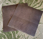 Crocodile Embossed Leather Sheet, Pre-cut Squares for Crafting Art Projects and DIY Fabric