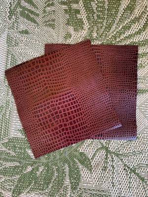 Genuine Leather Sheet or Squares Crocodile Embossed Perfect for Craft Material, Art Projects and DIY Fabric