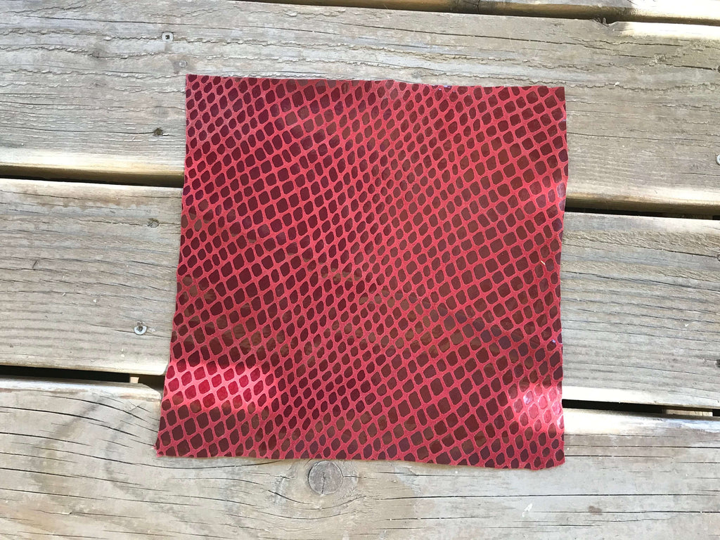 Red Snakeskin Laminated Leather Hide Sewing Crafting Material