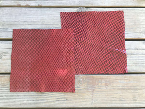 Red Pre-cut Leather Squares Sheets with Snakeskin laminate