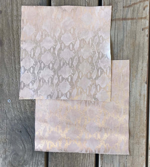 Pink Snakeskin Leather Sheet, Pre-cut Squares for Crafting Sewing Projects and DIY Fabric