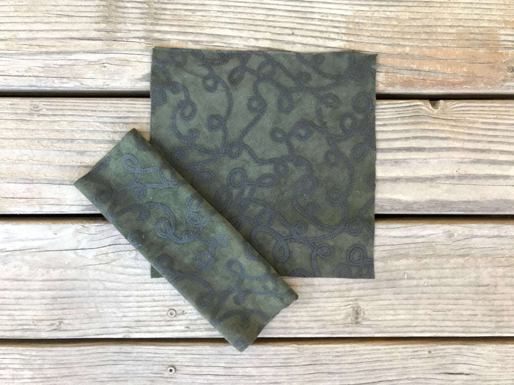 Green Suede Leather Pre-cut Square Floral Detail