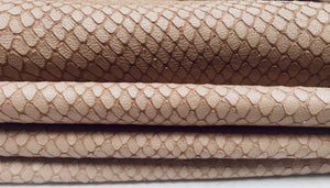 Sale Leather hides with snakeskin finish in taupe color
