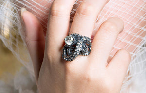tentacle ring, diamond ring, alternative bridal, tentacles, diamond ring, octopus ring, squid ring, peggy skemp jewelry
