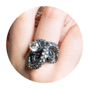 tentacle ring, tentacles, diamond ring, octopus ring, peggy skemp jewelry, alternative bridal