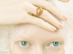bee eyes, bee eye, peggy skemp jewelry, driftless, dome ring, honeycomb ring, eyes