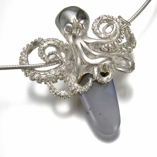 octopus necklace, chalcedony, peggy skemp jewelry, tentacle necklace