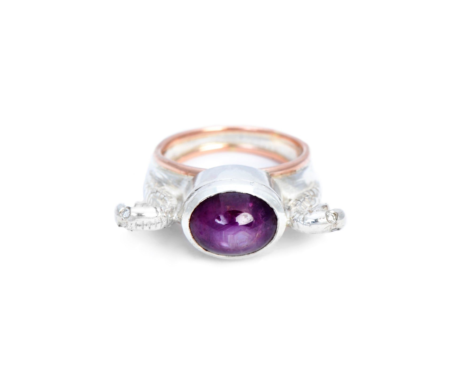 Serpent Sentinels Ring with Star Ruby and Diamond Eyes