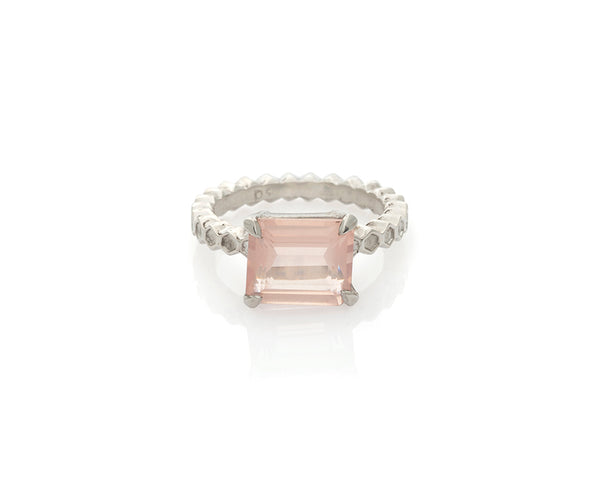 Rose Quartz Honeycomb Solitaire Ring
