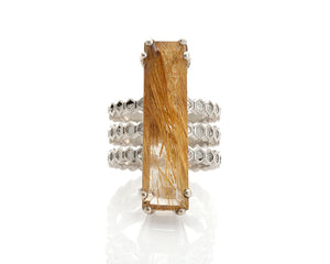 rutilated quartz ring, emerald cut included quartz solid silver honeycomb cocktail ring by artist Peggy Skemp,
