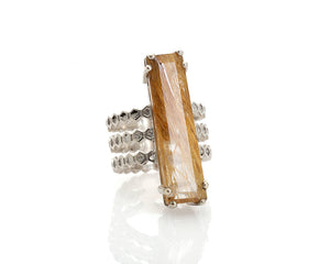 rutilated quartz ring, emerald cut included quartz solid silver honeycomb cocktail ring by artist Peggy Skemp,, geometric design, bee hive ring, sweet gift, emerald cut rutilated quartz