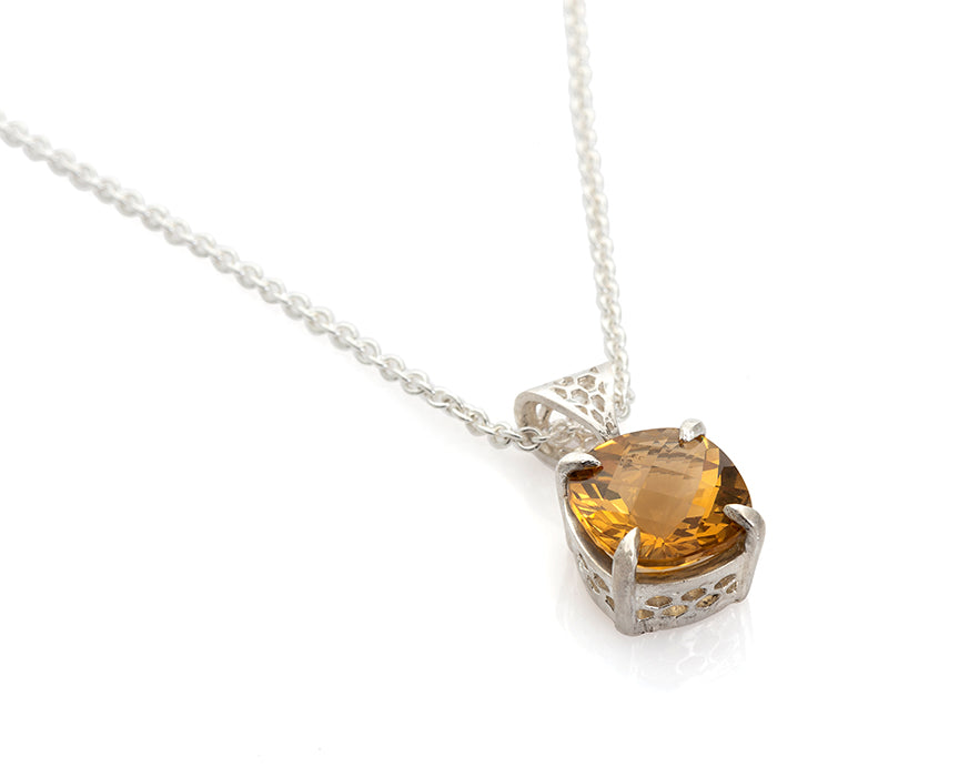 citrine, unheated citrine, cushion cut, november birthstone, birthstone jewelry, peggy skemp jewelry, natural gemstone, sustainable design, honeycomb necklace, art jewelry