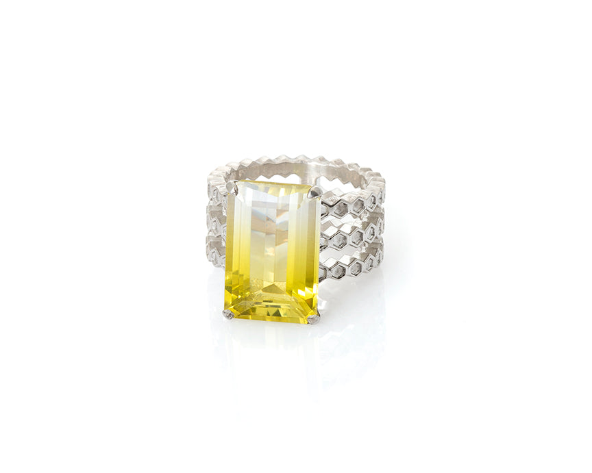 bicolor lemon quartz, honeycomb ring, cocktail ring, gemstone, collectible, quartz, lemon quartz, bicolor