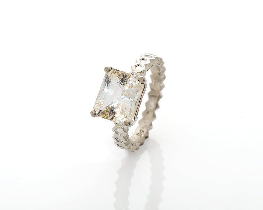 emerald cut, rutilated topaz, rutile, sparkly, bespoke, honeycomb band, solitaire, rutilated quartz ring, emerald cut included quartz solid silver honeycomb cocktail ring by artist Peggy Skemp,, geometric design, bee hive ring, sweet gift, emerald cut rutilated quartz