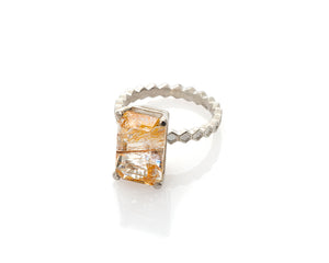 Rutilated Topaz Honeycomb Ring, Rutile, Topaz, November Birthstone, Birthstone Ring, Solitaire Ring, Art Jewelry, Collectible Gemstone, Silver Solitaire, Peggy Skemp Jewelry