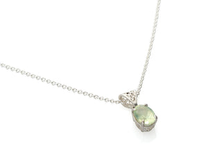 Prehnite Honeycomb Solitaire Necklace