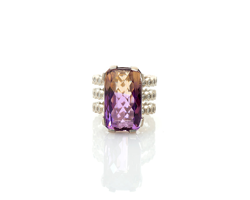Ametrine ring, geometric design, ametrine, cocktail ring, silver ring, ametrine, checkerboard cut gem, briolette cut gem, peggy skemp jewelry, animal architecture, geometric design, hexagons, hexagon tiles