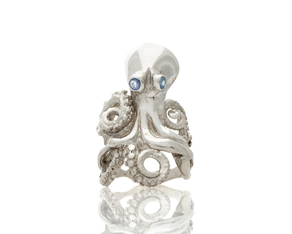 Octopus Ring with Sapphire Eyes