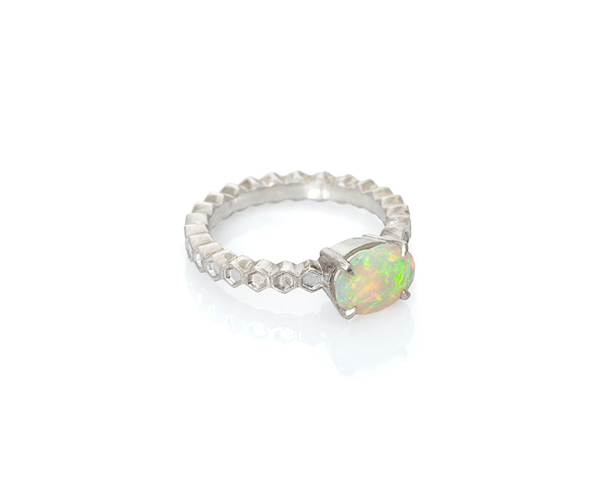 Faceted ethiopian fire opal, oval opal silver honeycomb solitaire ring, claw prongs, opal ring, fiery flashes of green yellow, pink, orange and teal, silver fire opal ring