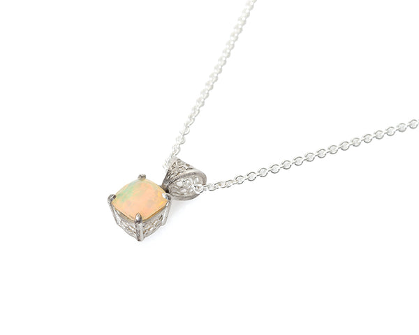Opal Honeycomb Necklace, Silver with Faceted Opal
