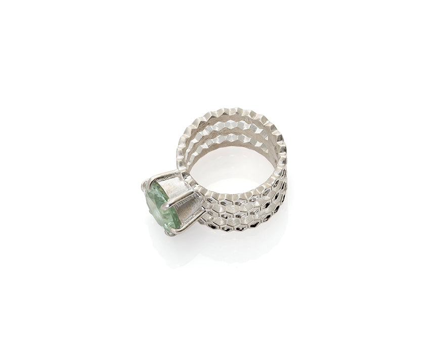 prasiolite, green gem, honeycomb ring, peggy skemp jewelry, silver cocktail ring, gem, jewelry addict, art jewelry