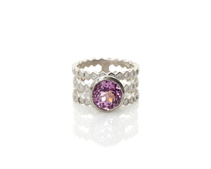 Kunzite Three Band Honeycomb Ring