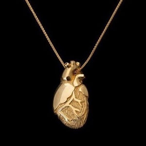 gold heart, solid gold heart, heart locket, anatomical heart, heart anatomy, medical art, medical jewelry, peggy skemp jewelry