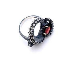 Black Silver Tentacle Ring with Garnet and Diamonds